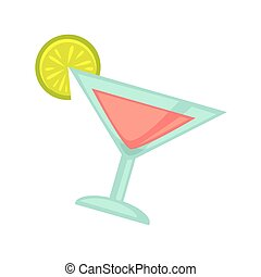 Night club or disco party cocktail drink in glass vector flat icon