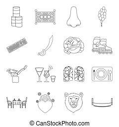 Country, crop, maintenance and other web icon in outline...