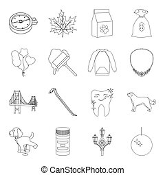 medicine, crime, fashion and other web icon in outline...