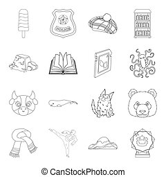 sport, animal, medicine and other web icon in outline...