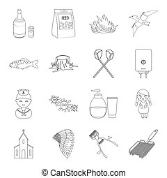 Knife, cooking, beauty and other web icon in outline style.Plumbing, profession, alcohol icons in set collection.