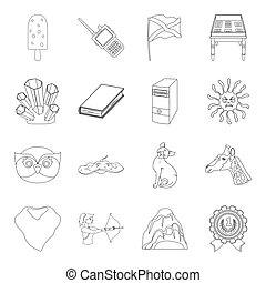 sport, animals, education and other web icon in outline...