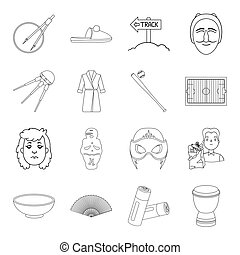 Spain, food, charity and other web icon in outline...