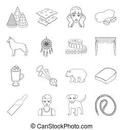 sport, medicine, animal and other web icon in outline...