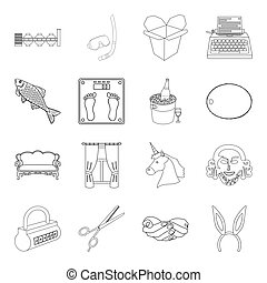 sport, fitness, furniture and other web icon in outline style.hairdresser, history, service icons in set collection.