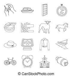medicine, animal, education and other web icon in outline style.ritual, service,sport icons in set collection.