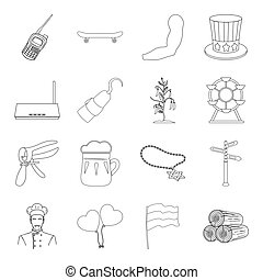Food, sport, sanitary ware and other web icon in outline style.Medicine, alcohol, security icons in set collection.