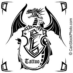 Black dragon a tattoo - The vector image of a dragon in the...