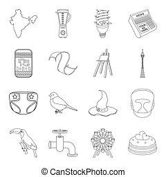 history, cooking, animals and other web icon in outline style. plumbing, entertainment, service icons in set collection.
