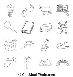 education, protection, sport and other web icon in outline style. animal, medicine, library icons in set collection.