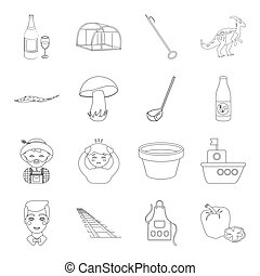 animals, alcohol, plants and other web icon in outline...