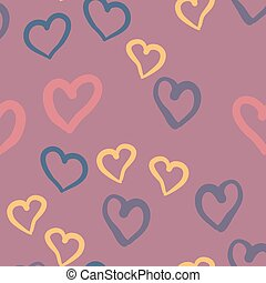 Violet hearts seamless vector tile. Valentines day background. Flat design endless chaotic texture made of tiny heart silhouettes