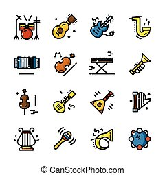 Line Musical instruments icons vector illustration