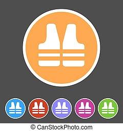 life vest jacket icon flat web sign symbol logo label set