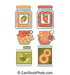 Preserves or preserved food jars bottles, jams and pickles...