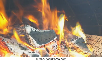 wood fire Slow motion Fire burning in the fireplace - slow...