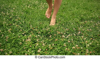 woman's bare feet walking over green grass field, Flowers of...