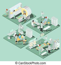 Set of 3D flat isometric illustrations of medical premises...
