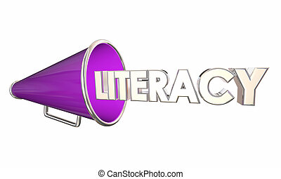 Literacy Bullhorn Megaphone Learn to Read Education 3d Illustration