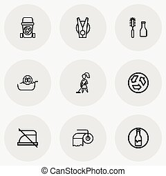 Set Of 9 Editable Cleaning Icons. Includes Symbols Such As...