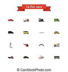 Set Of 16 Editable Vehicle Icons. Includes Symbols Such As...