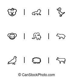 Set Of 9 Editable Zoology Icons. Includes Symbols Such As Pigeon, Predator, Porcupine And More. Can Be Used For Web, Mobile, UI And Infographic Design.