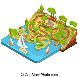 3D isometric illustration of cross section of a landscape park with a river, bridges, benches and lanterns.