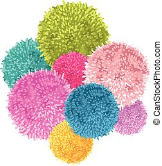 Vector Bunch of Colorful Baby Kids Birthday Party Pom Poms...