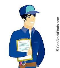 Young asian mechanic holding clipboard with papers