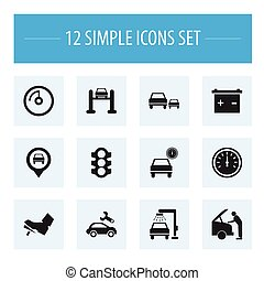 Set Of 12 Editable Vehicle Icons. Includes Symbols Such As Race, Pinpoint, Service And More. Can Be Used For Web, Mobile, UI And Infographic Design.