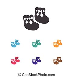 Vector Illustration Of Infant Symbol On Baby Booty Icon. Premium Quality Isolated Shoes For Babies  Element In Trendy Flat Style.