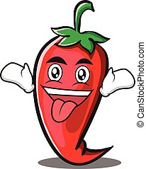 Crazy red chili character cartoon