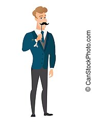 Cheerful groom with a fake mustache. - Young caucasian groom...