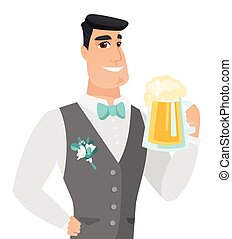 Young caucasian groom drinking beer.