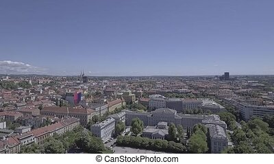 Zagreb city center aerial - Aerial shot of the famous old...