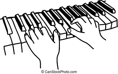 Closeup hands playing the keyboard or piano - vector illustration sketch hand drawn with black lines, isolated on white background