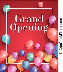 Grand Opening Invitation with White Frame and Balloons.