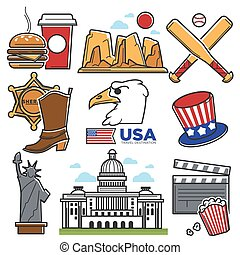USA America culture and Amercian travel landmarks icons set...