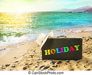 Suitcase in a tropical beach with holiday writing during...