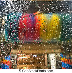 Car wash  - Car-wash service, colorful automotive brushes