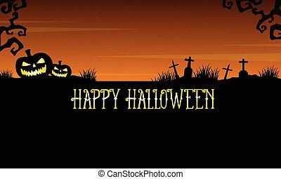 Happy Halloween graveyard landscape background