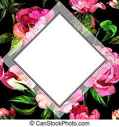 Wildflower peony flower in frame a watercolor style. Full...