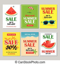 Summer sale emails and banners mobile templates. Vector illustrations for website, posters, brochure, voucher discount, flyers, newsletter designs, ads, promotional background.