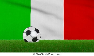 Ball on the italy flag - Ball on the grass on the background...