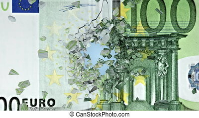 Wall with euro image that is broken into pieces. 3d...