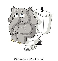 Elephant. Character. Sitting on the toilet. Big collection of isolated elephants. Vector, cartoon.