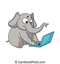 Elephant. Character. Sits at the computer. Work on the...