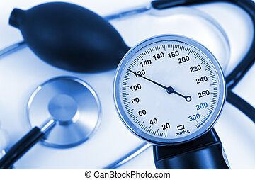 Scale of pressure and stethoscope, abstract medical...