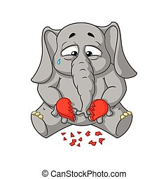 Elephant. Character. Broken heart in his hands. Big...