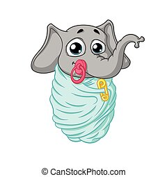 Elephant. Character. The baby is wrapped with a pacifier in his mouth. Big collection of isolated elephants. Vector, cartoon.
